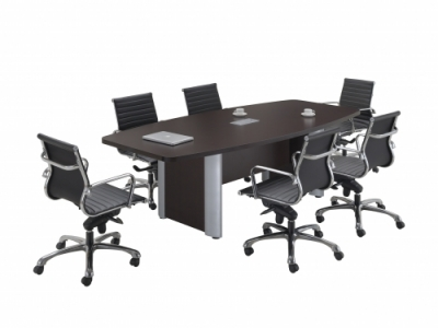 6 Laminate Boat Shape Conference Table Espresso