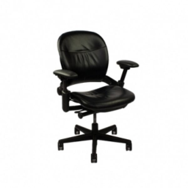 Steelcase Leap V1 chair - black leather - Office Furniture Chicago ...