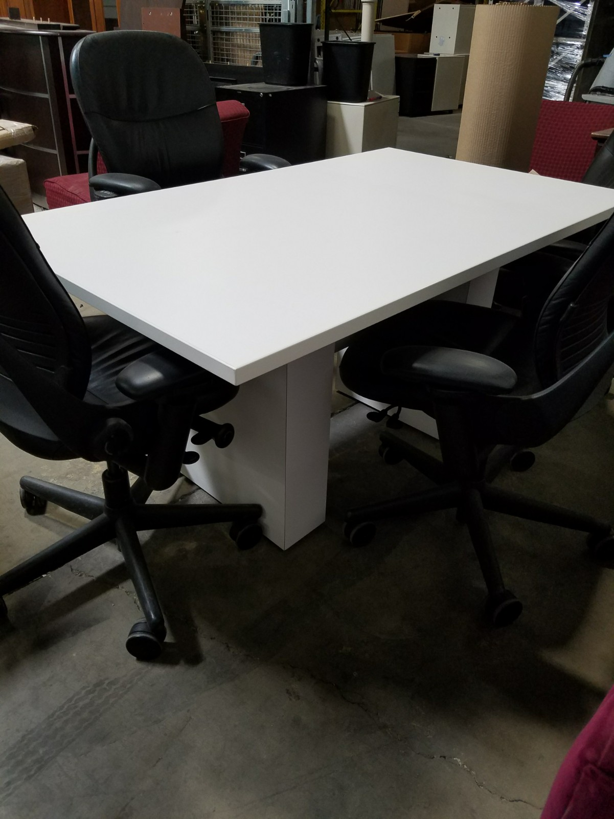 Genial 3u2032 X 5u2032 White Laminate Conference Table U2013 SOLD