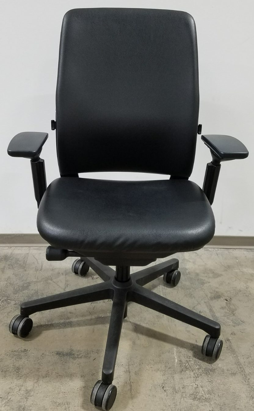 steelcase amia task chair in faux black leather sold office