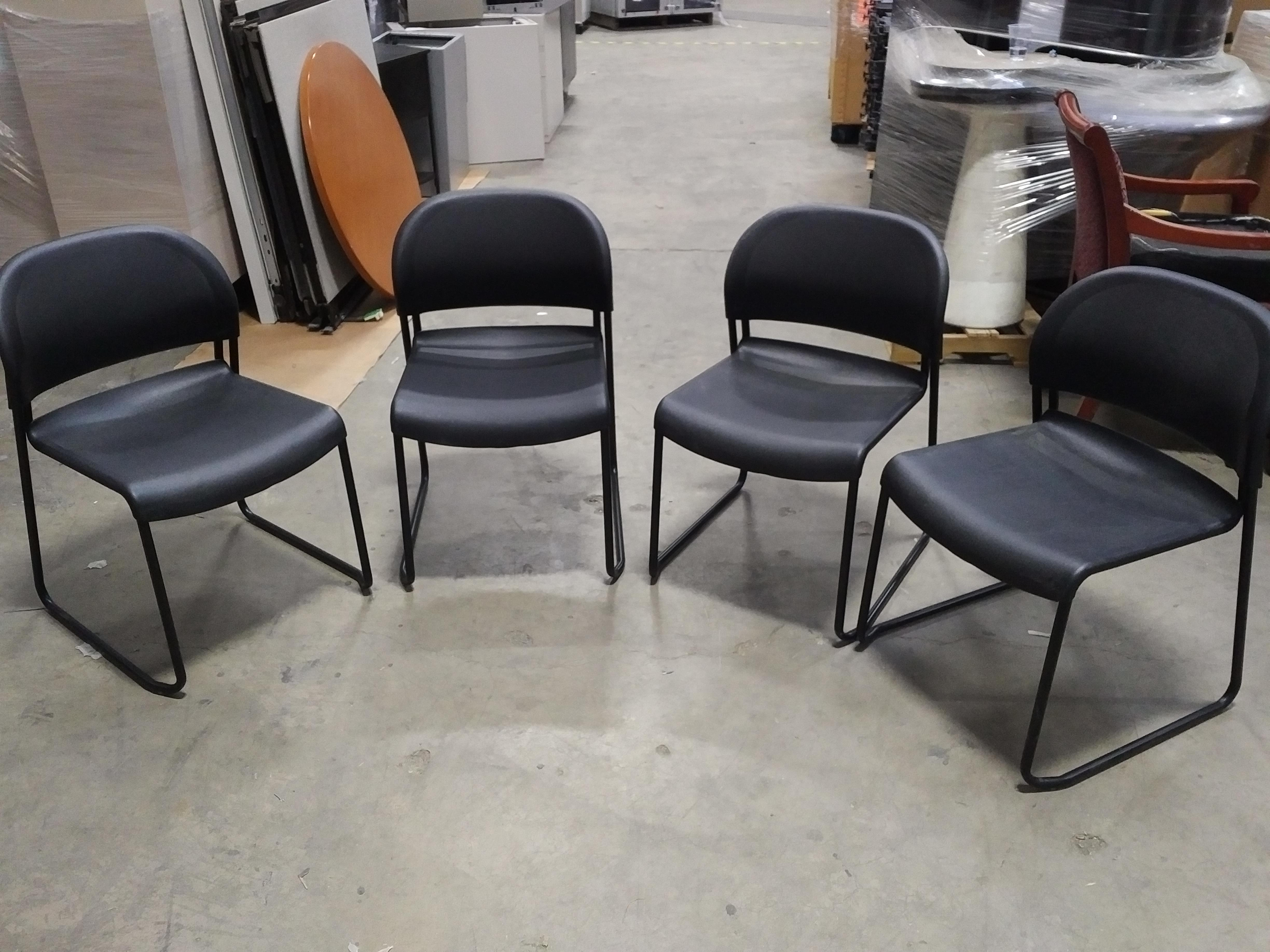 hon gueststacker chairs in black - office furniture chicago - new - used