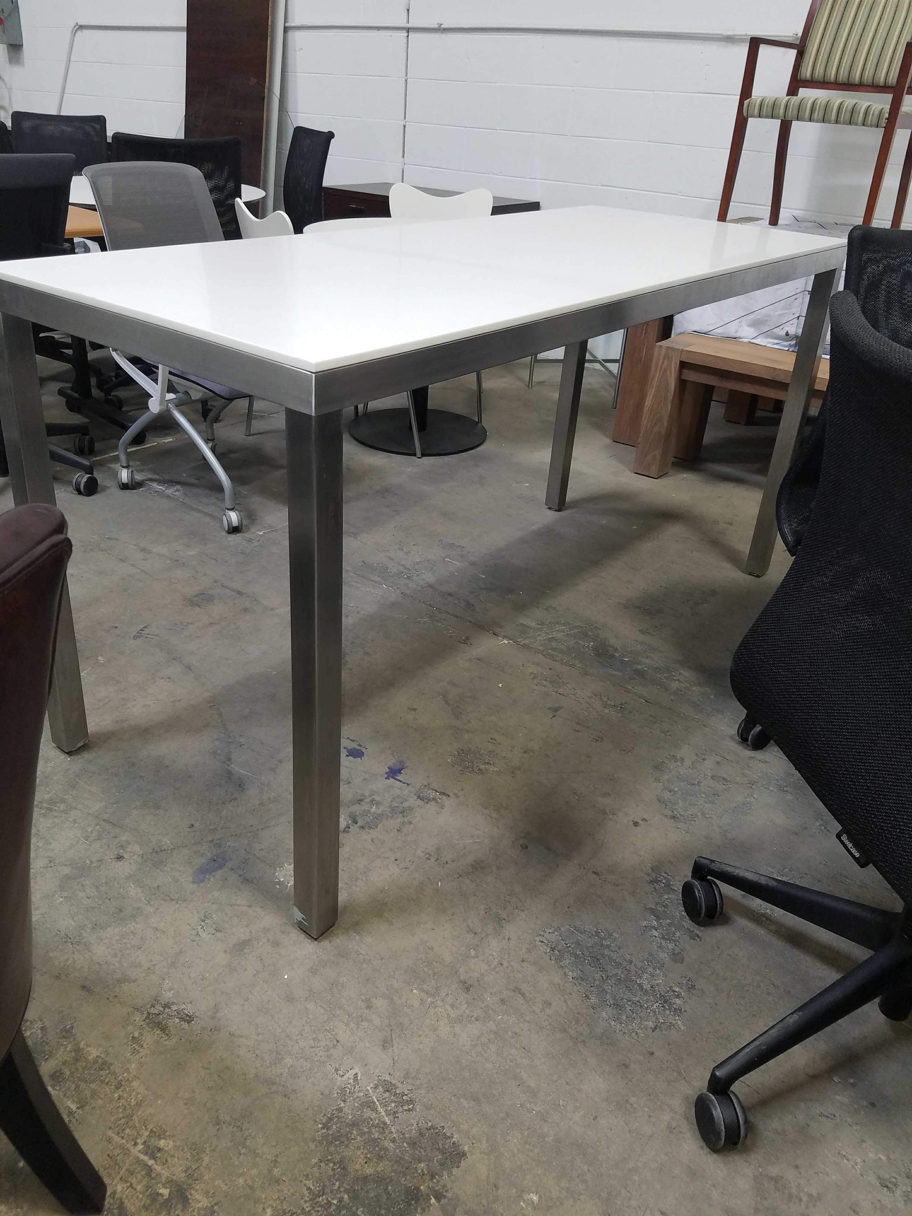 Counter Height Corian Table With Stainless Steel Base SOLD - Corian conference table